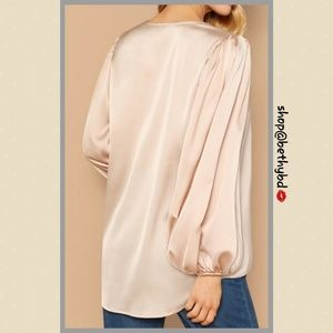 Belle of the Ball Couture Boutique Tops - Last 1💼Satin Vneck pullover blouse balloon sleeve
